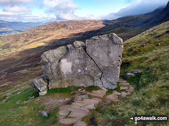 Huge rock on the Pony Path below Rhiw Gwerdydd