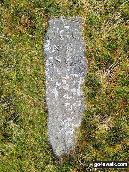 Marker stone on the summit of Cribin Fawr