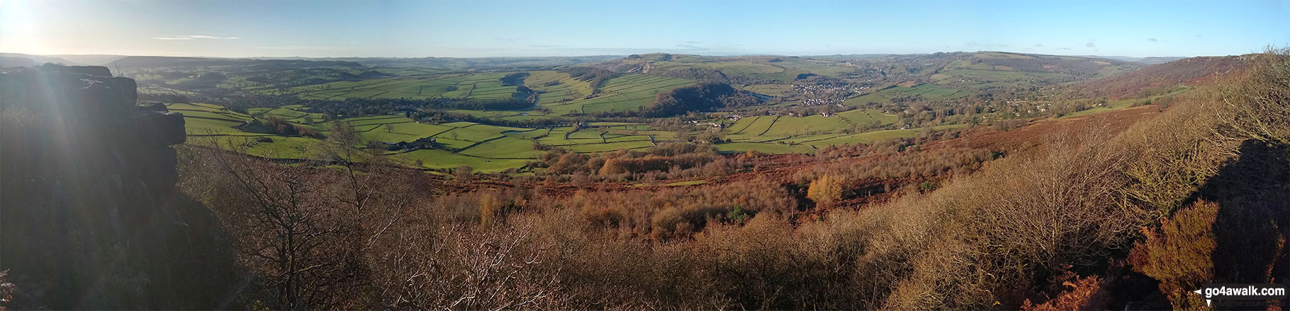 Curbar, Calver, The Derwent Valley and Baslow from Baslow Edge