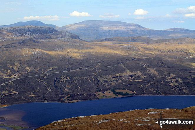 Cranstackie, Beinn Spionnaidh and Meall nan Cra across Loch Hope from  Carn a' Ghallaich, Ben Hope