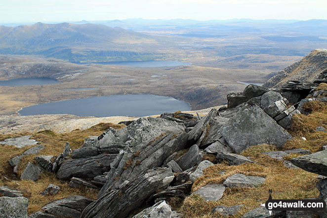 Loch a' Ghobha-Duibh and Dubh-Loch Creige Riabhaich from the top of Ben Hope