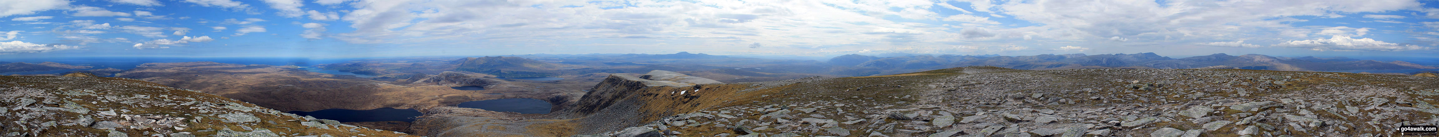 Walk h129 Ben Hope from Muiseal, Strath More - Panorama from the summit of Ben Hope