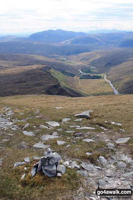 Walk h129 Ben Hope from Muiseal, Strath More - Strath More from part way up Ben Hope