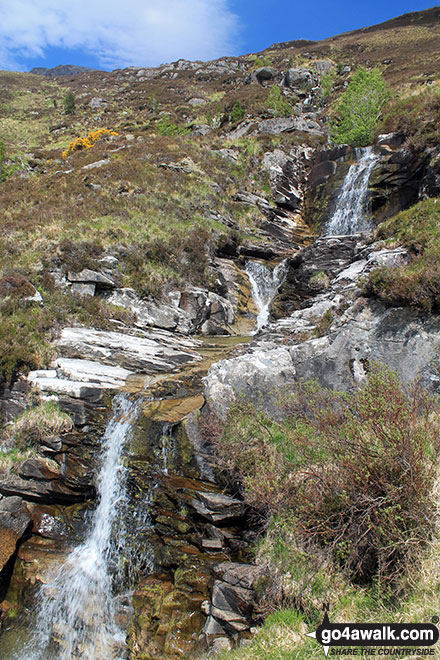 Walk h129 Ben Hope from Muiseal, Strath More - Waterfalls on the lower slopes of Ben Hope
