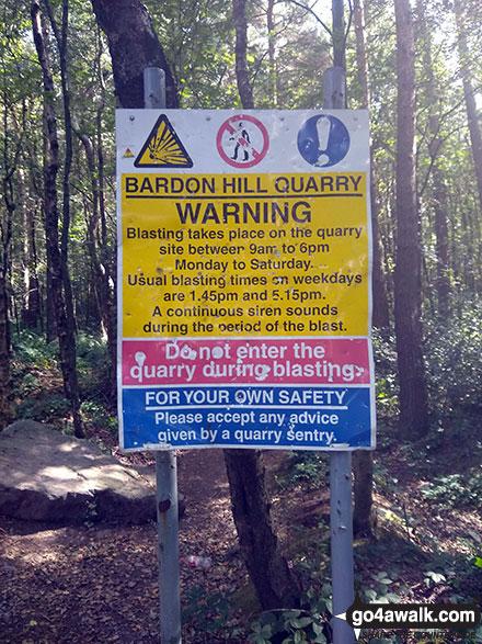 Yellow warniing sign at the bottom of Bardon Hill