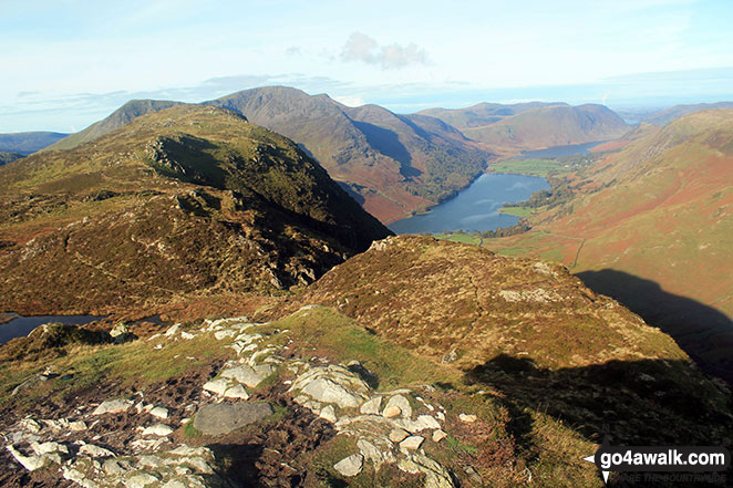 Fleetwith Pike (foreground left) with High Crag, High Stile and Red Pike (Buttermere) beyond towering over Buttermere from Honister Crag (Black Star)