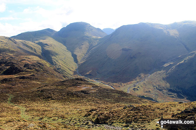Green Gable (left) Great Gable (centre left), Scafell Pike (centre distance) and Kirk Fell (centre right) from Hay Stacks (Haystacks)