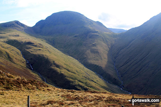 Green Gable (left) and Great Gable (centre left) and the shoulder of Kirk Fell from Loft Beck