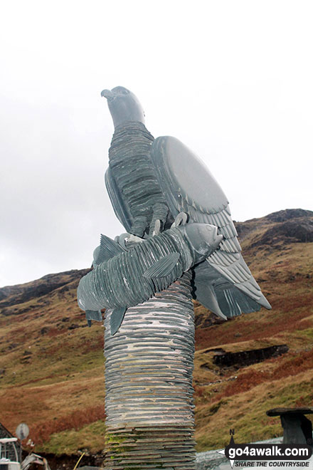 Slate sculpture of an eagle outside the slate mine shop at Honister Hause