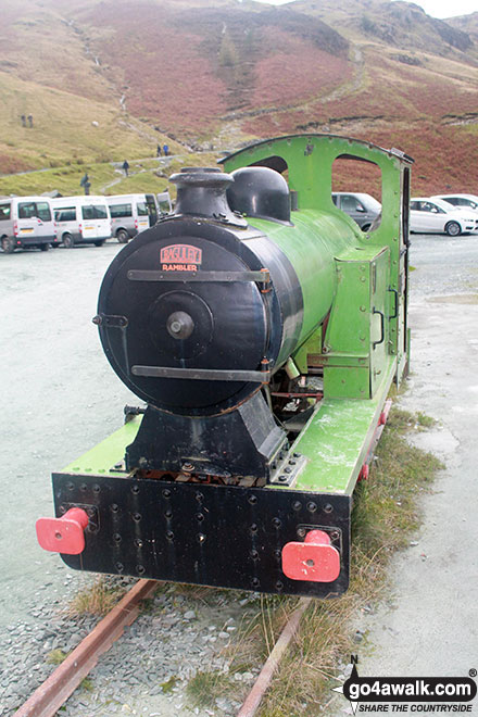 Former mine train locomotive outside the slate mine shop at Honister Hause
