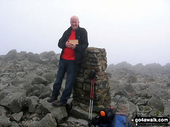 John Townsend and our dog Hamish's ashes at the top of Scafell Pike. Walk route map c197 Lingmell and Scafell Pike from Wasdale Head, Wast Water photo