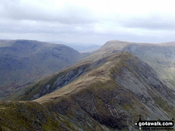 Froswick (foreground - centre right)) with Stony Cove Pike (Caudale Moor) (left), the Threshthwaite Mouth saddle and Thornthwaite Crag (centre back) from the summit of Yoke