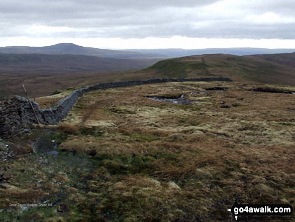 Ingleborough (in the distance left) and Green Hill (Gragareth) (foreground right) from Great Coum
