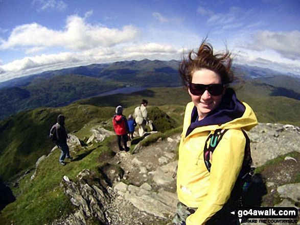 Jenn just coming off the top of Ben Lomond on a family holiday
