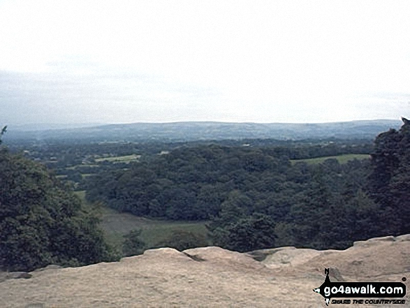 The Cheshire Plain from Mow Cop. Walk route map ch170 Little Moreton Hall and Mow Cop from Ackers Crossing photo