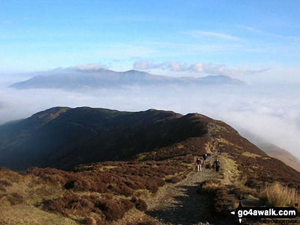 Walk c209 Hopegill Head from Hopebeck - The Sleet How Ridge with Skiddaw beyond from Grisedale Pike