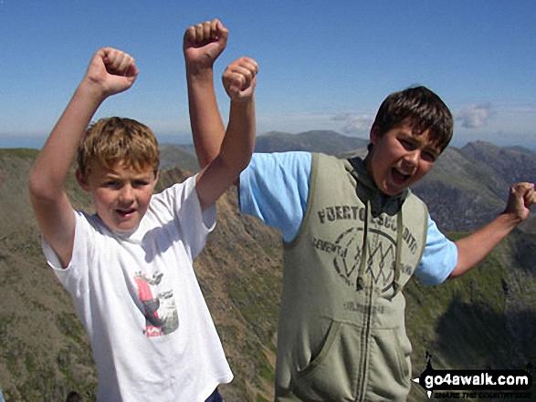 My children Ben (12yrs) and Rob (10yrs) on Snowdon in Snowdonia Gwynedd Wales