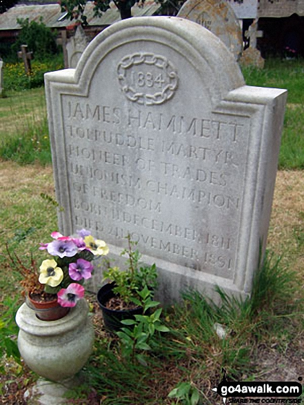 James Hammett's grave stone (one of the Tolpuddle Martyrs) in Tolpuddle Churchyard