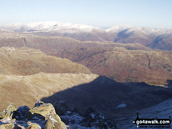 Walk c222 Swirl How and Wetherlam from Coniston - The Langdale Pikes from Prison Band