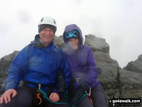 My husband and I at the top of Sgurr Dearg (Inaccessible Pinnacle) - (a.k.a. In Pin) on The Isle of Sky in April of this year ready to abseil off the other side - very scary!!