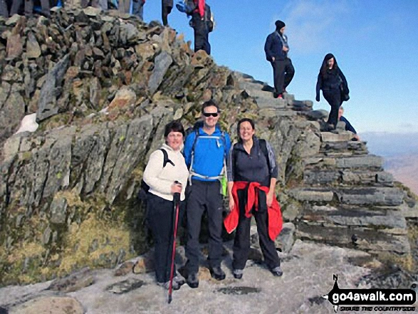 At the summit of Snowdon in March 2012. Walk route map gw100 Mount Snowdon (Yr Wyddfa) from Pen y Pass photo