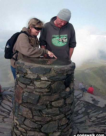 My big sister Louise and my brother-in-law Dave at the top of Snowdon last September. Walk route map gw117 Snowdon and Yr Aran via The Watkin Path from Nantgwynant photo