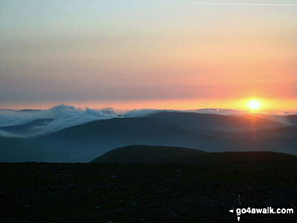 Sunrise (4.50am) from the summit of Ingleborough