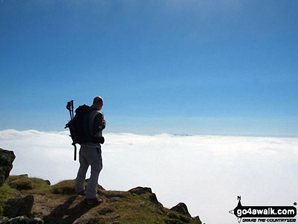 Myself in September on the final approach to Snowdon summit via the Rhyd Ddu path