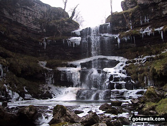 Ice on Rawthey Gill Quarry waterfall