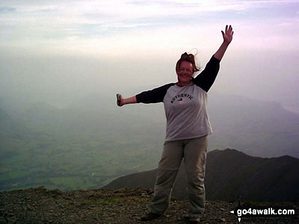Celebrating at the top of Blencathra (or Saddleback) having successfully negotiated Sharp Edge