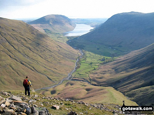 Illgill Head (left) Wasdale, Wast Water and Yewbarrow from Westmorland Cairn, Great Gable. Walk route map c141 Great Gable and Pillar from Wasdale Head, Wast Water photo