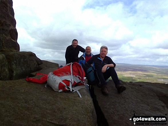 Walk ny121 Simon's Seat from Barden Bridge, Wharfedale - The Three Amigos on top of Simon's Seat