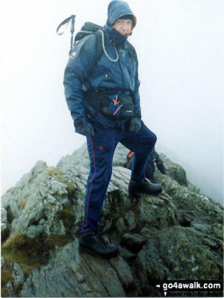Me on highest point of Striding Edge walk The Lake District Cumbria England walks