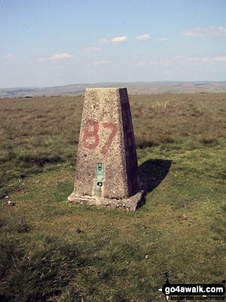 Cowpe Lowe summit trig point. Walk route map l210 Cowpe Lowe from Edenfield photo
