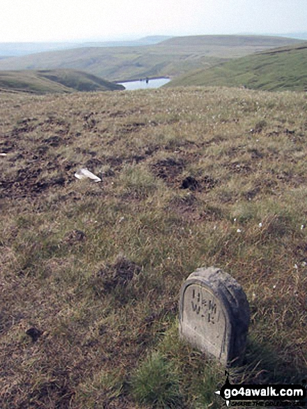Boundary Stone on Hail Storm Hill. Walk route map l134 Hail Storm Hill from Edenfield photo