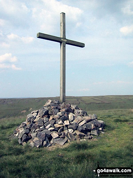 Memorial on Whittle Hill. Walk route map l134 Hail Storm Hill from Edenfield photo