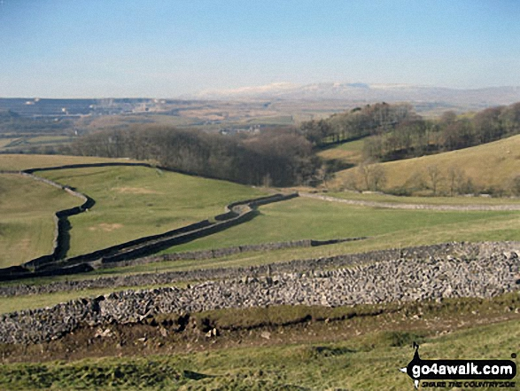 Ingleborough from above Brackenbottom. Walk route map ny321 The Yorkshire Three Peaks Challenge as a 2 day walk - Day 1 from Horton in Ribblesdale (New 2013 Route) photo