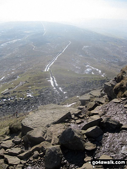The Pennine Way crossing Gavel Rigg from Pen-y-ghent