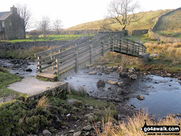 Footbridge over Ling Gill Beck at Nether Lodge. Walk route map ny321 The Yorkshire Three Peaks Challenge as a 2 day walk - Day 1 from Horton in Ribblesdale (New 2013 Route) photo