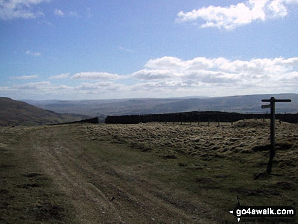 Looking back to Hawes from the Pennine Way half-way up Great Shunner Fell