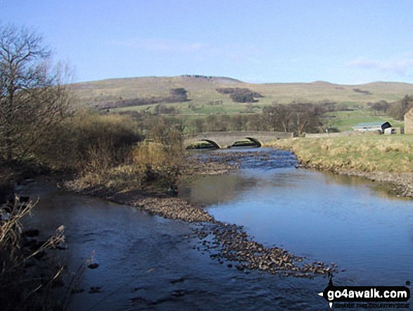 The River Ure near Haylands Bridge. Walk route map ny149 Great Shunner Fell from Hawes photo