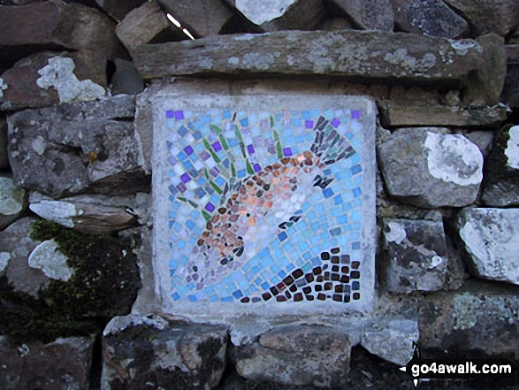 Unusual fish waymark near Hawes. Walk route map ny149 Great Shunner Fell from Hawes photo