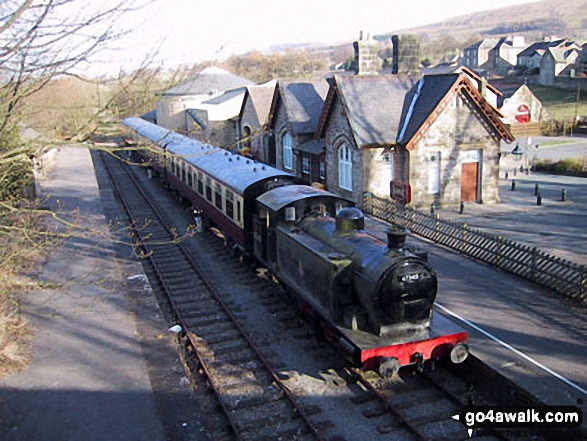 Hawes Railway Station. Walk route map ny149 Great Shunner Fell from Hawes photo