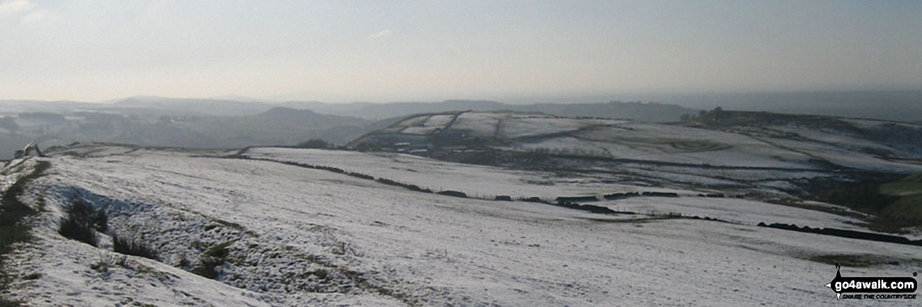 Looking South from Sponds Hill along the Gritstone Trail towards Croker Hill (left - in distance with mast on summit) and Teggs Nose in the snow