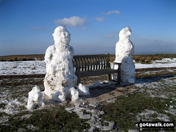 Pair of huge Snowmen on Sponds Hill - love the little snow dog (bottom left)