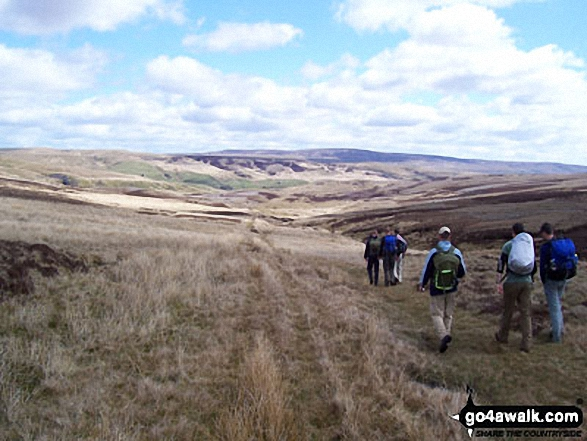 Descending by Ney Gill towards Ravenseat. Walk route map c404 Nine Standards Rigg and Whitsundale Beck from Tailbridge Neck photo