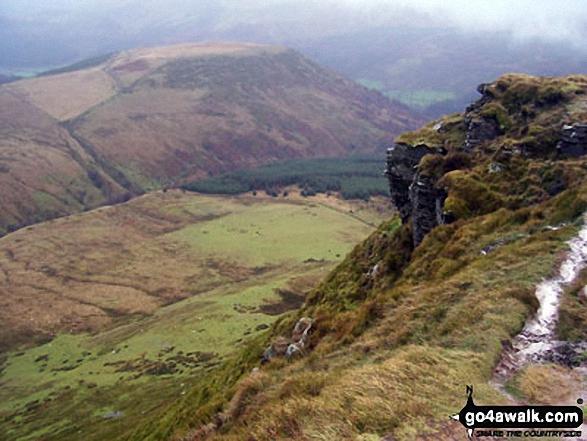 View from Craig Y Fan Ddu. Walk route map po131 Bwlch y Ddwyallt and Fan y Big from Blaen y Glyn photo