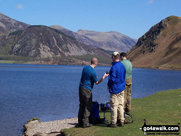 Ennerdale Water. Walk route map c130 Haycock and Steeple from Ennerdale Water photo