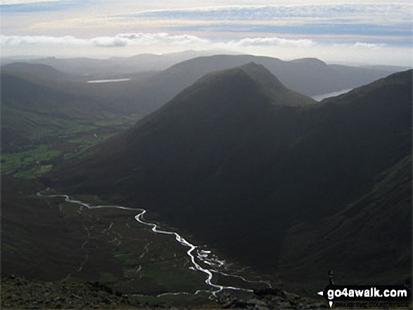 Walk c343 Pillar and Red Pike from Wasdale Head, Wast Water - Wasdale Head (left), Burnmoor Tarn, Yewbarrow (front centre), Illgill Head (back) and Wast Water from Pillar