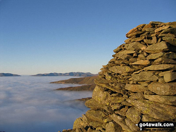 Looking North towards Skiddaw and Blencathra from the summit of Ill Bell across cloud trapped by a temperature inversion